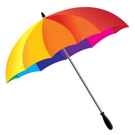 rainbow umbrella: One rainbow umbrella isolated on white background Illustration