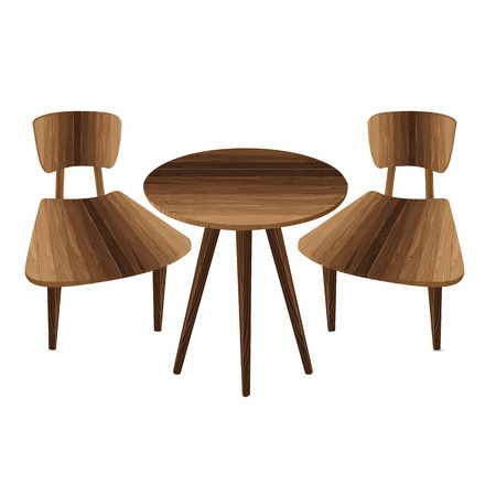 wooden stool: Table and two chair on a white background. Wooden Furniture. Table and stool. Illustration