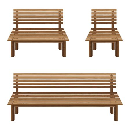 wooden bench: Wooden chairs on a white background. Wooden Bench and wooden chairs.