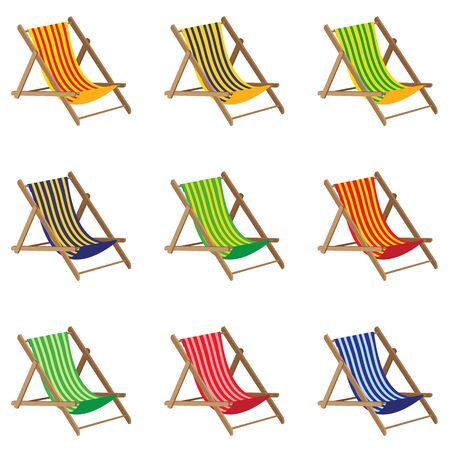 wooden furniture: Beach chair. Colorful Beach chair isolated on white background. Wooden Furniture. Illustration