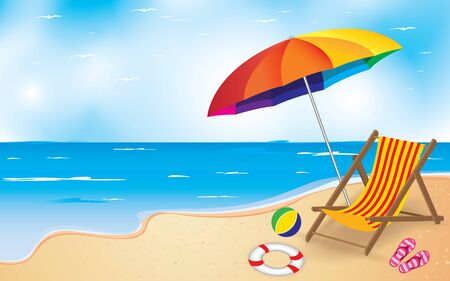 recliner: Beach and Umbrella and Chair. Summer Beach Background.