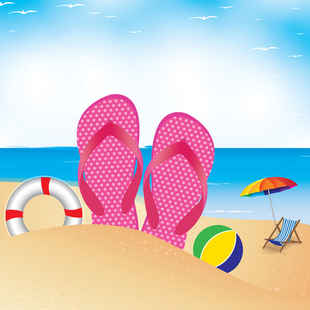 slipper: Beach umbrella with chair on the beach. Slipper and football in sand.