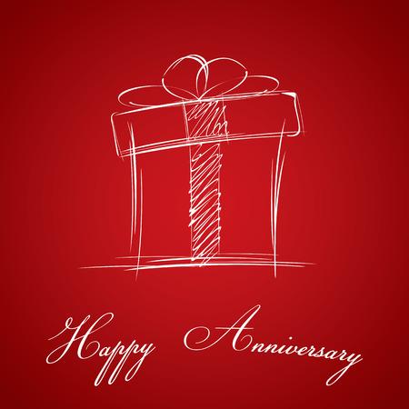 anniversary card: Happy Anniversary and gift box on red background. Happy Anniversary card.