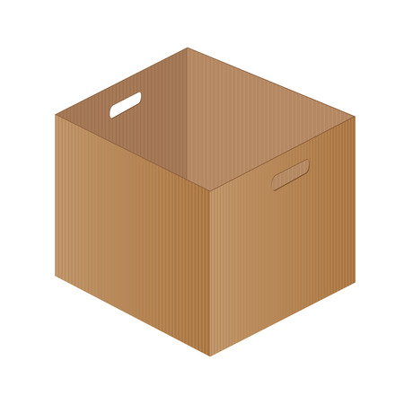 brown box: Brown paper box on a white background. One brown box packaging. Illustration