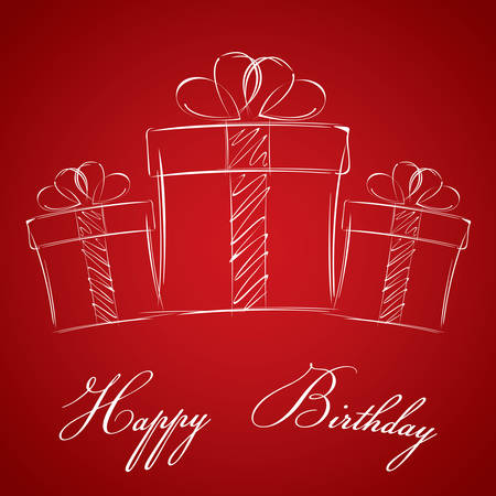 red gift box: Happy birthday with gift box on a red background. White gift box.