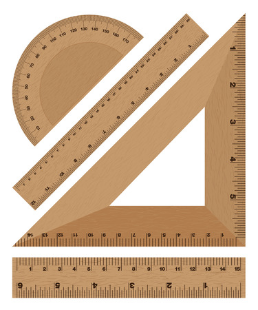 inch: Wooden ruler instruments on a white background.