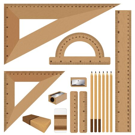 inch: Drawing set. Wooden ruler and pencil, eraser with sharpener isolated on white background. Illustration