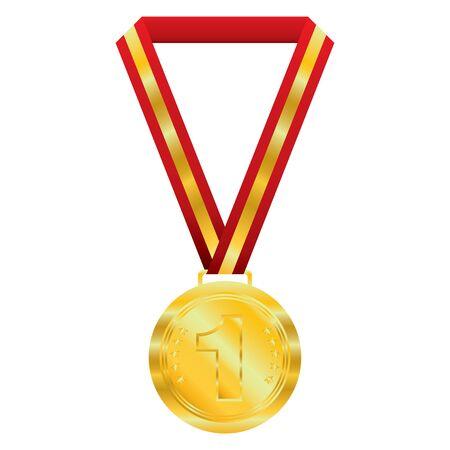 white background: Gold  medal on white background.