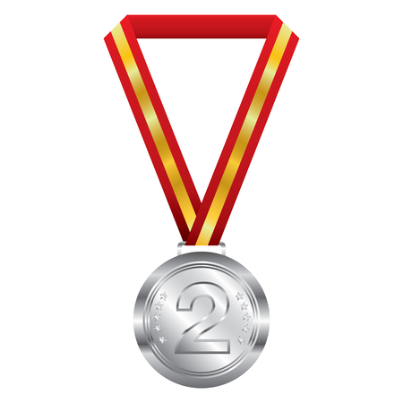 silver background: Silver medal on white background. Illustration
