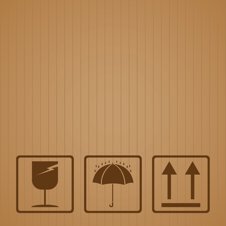 cardboard texture: Fragile symbol with brown cardboard texture. Fragile symbol vector. Illustration