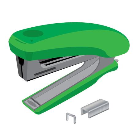Stapler and staples. Green stapler and staples isolated on white background.