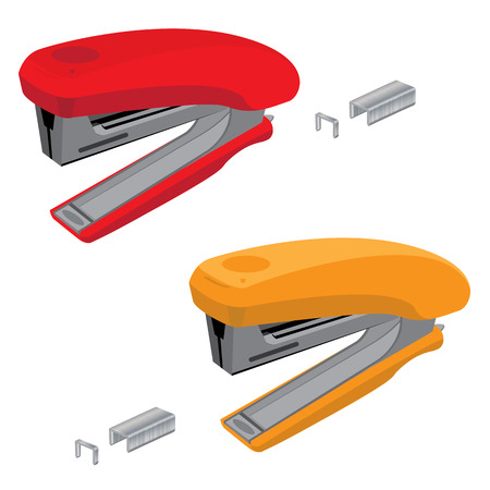 Stapler and staples. Red with orange stapler and staples isolated on white background.