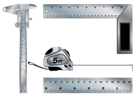 vernier: Angle and Vernier caliper. Ruler and Tape measure tool isolated on white background. Illustration