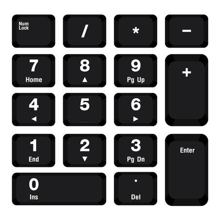 teclado numérico: Teclado numérico por ordenador, diseño de color negro sobre fondo blanco. Vectores