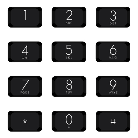 Numeric keypad of black color design on white background.