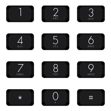 teclado numérico: Teclado numérico de diseño de color negro sobre fondo blanco.