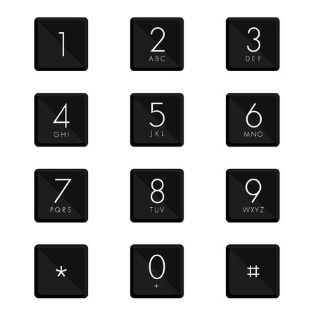 teclado numérico: escenografía teclado numérico en el fondo blanco. Vectores