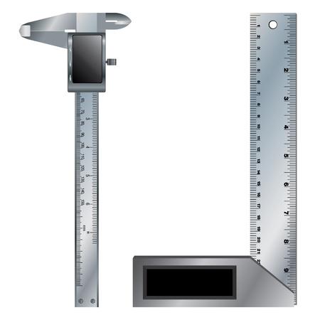 vernier: Metal angle and Vernier caliper digital tool isolated on white background. Illustration