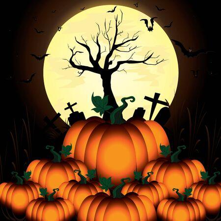 harvest moon: Pumpkin and Bats in big moon night on black sky of Happy Halloween.