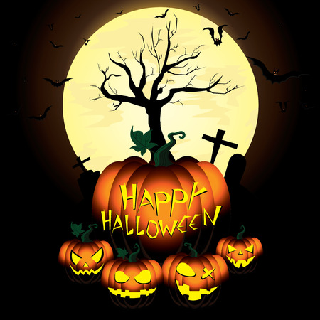 Happy Halloween Pumpkin and Bats in moon night on black sky.