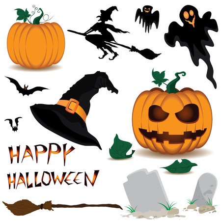 Happy Halloween and Pumpkin, Witch, Spooky, Bats, Objects isolated on white background. Illustration