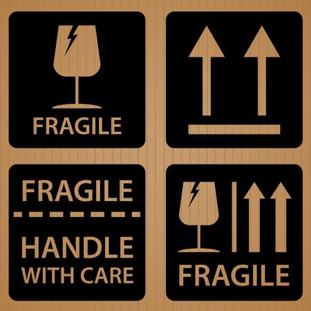 cardboard texture: Fragile shipping label of Black symbol design on brown cardboard texture background. Illustration