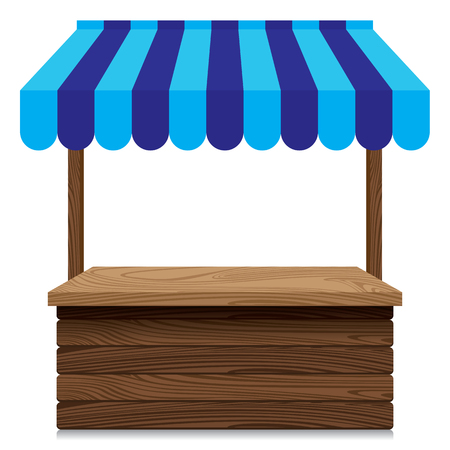 Wooden market stall with blue awning on white background.