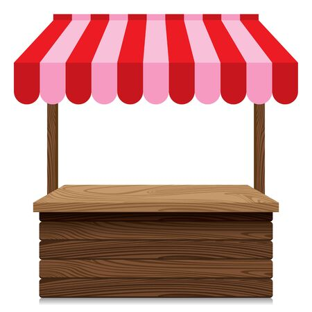 Wooden market stall with red and pink awning on white background.