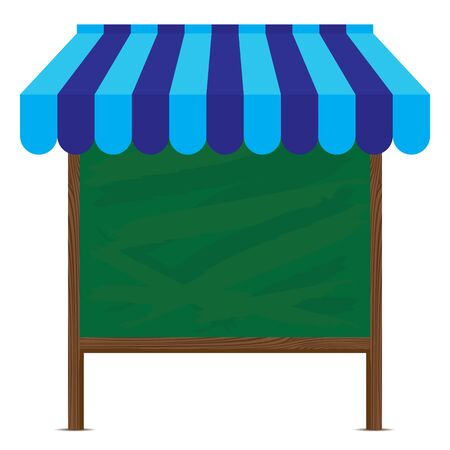 mall signs: Wooden sign and blue awning with big green board on white background. Illustration