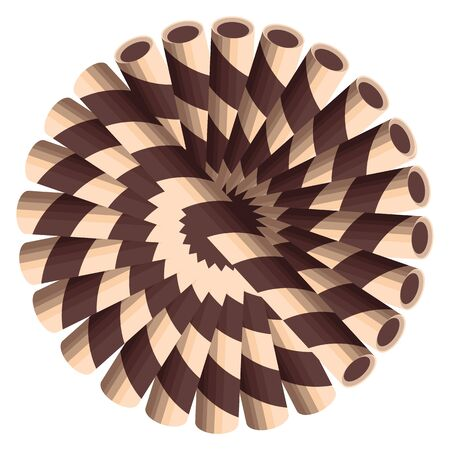 Chocolate wafer straws arranged in a circle on white background. Illustration