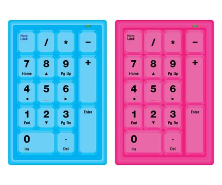 teclado numerico: Azul y rosado del teclado numérico del ordenador aislado en el fondo blanco.