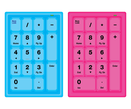 Blue and Pink Computer numeric keyboard isolated on white background.