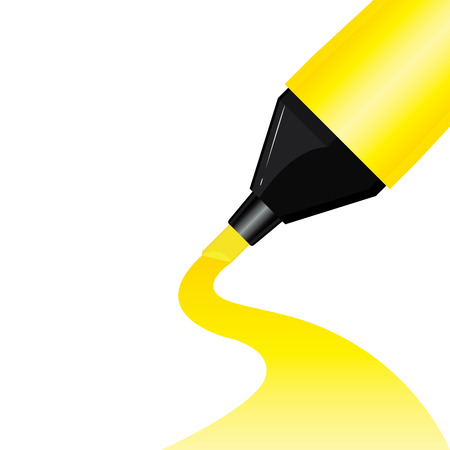 Yellow pen highlighter for white paper background.