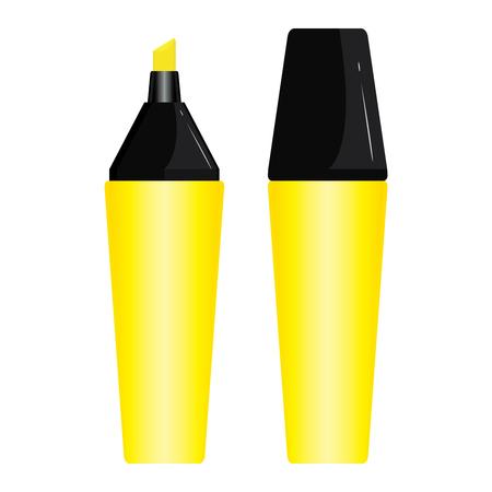 Gele Pen markeerstift ontwerpset geïsoleerd op een witte achtergrond.