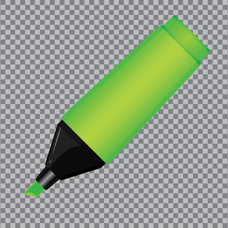 Green Highlighter Pen isolated on transparent background. Ilustrace