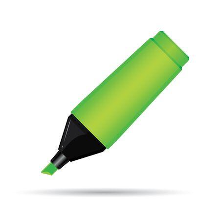 Green Highlighter Pen Isolated On White Background.