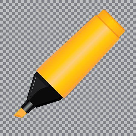 Orange Highlighter Pen isolated on transparent background.