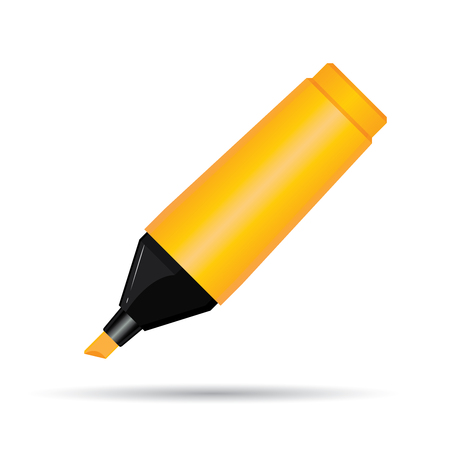 Orange Highlighter Pen Isolated On White Background.