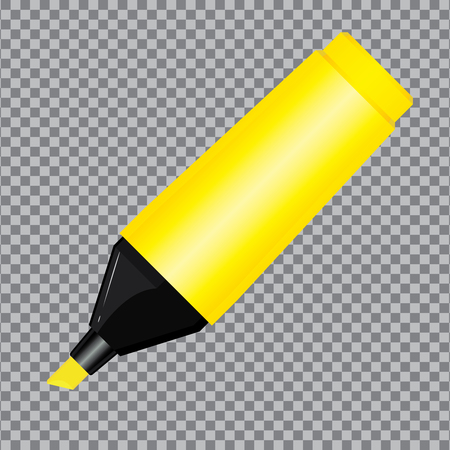 Yellow Highlighter Pen isolated on transparent background.