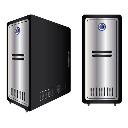 Computer Case. Realistic Case of Computer Isolated On White Background.