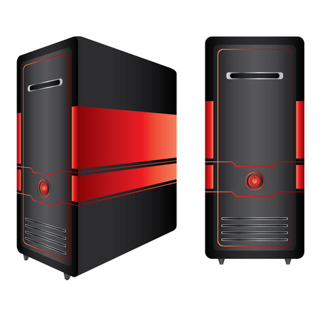 Red and Black Computer Case Isolated On White Background.