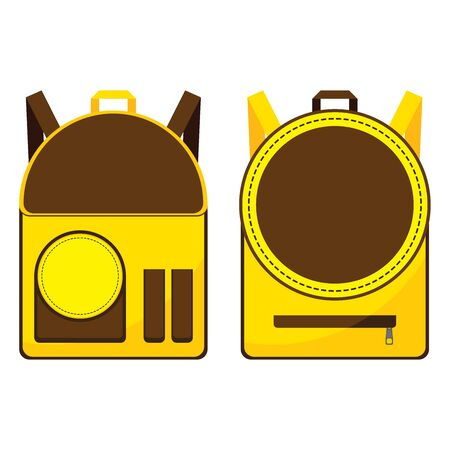 Brown and Yellow School Bag Design Isolated On White Background.