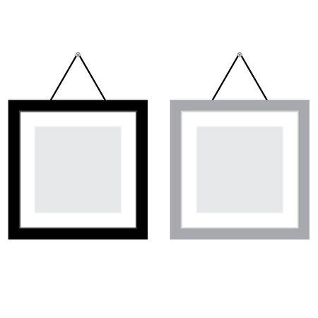 Blank and Grey photo frame isolated on white background. Ilustrace