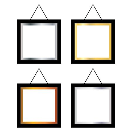 Blank photo frame on white background. Blank photo frame on the wall.