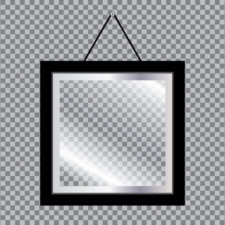 Blank photo frame with glass isolated on transparent background.