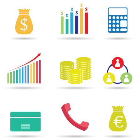 Set of colorful business and financial icons. Illustration