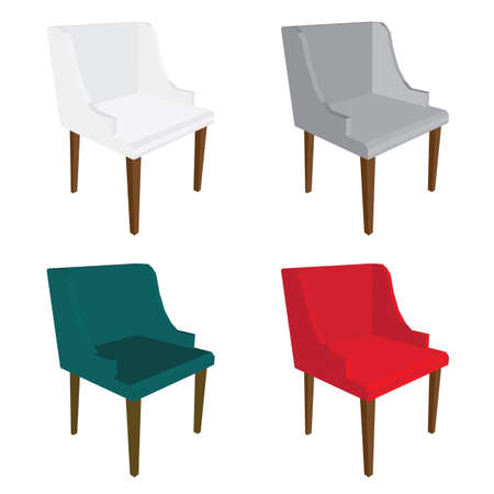 Set of colorful chairs icon.
