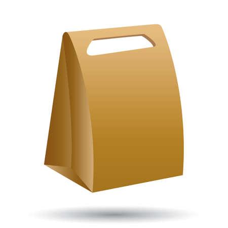 Brown cardboard bag icon. Ilustrace