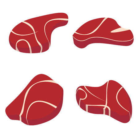 Meat set isolated white background. Red mat set.