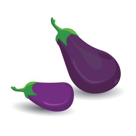 Figure ripe eggplant isolated on white background.